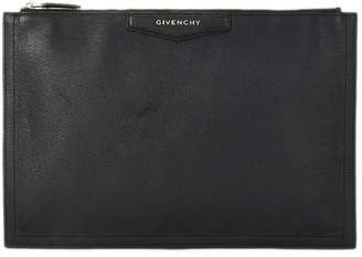 Givenchy Black Grained Leather Antigona Pouch Large