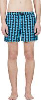 Jonathan Saunders Blue & Black Wave Pattern Swim Shorts