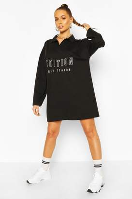 boohoo Embroidered Collar Polo T-shirt Dress