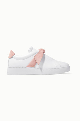 Alexandre Birman Clarita Bow-embellished Suede-trimmed Leather Slip-on Sneakers - White