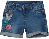 Fat Face Girls' Embroidered Denim Shorts, Blue