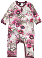 Molo Fiona Winter Meadow Raglan Coverall, Gray/Pink, Size 3-12 Months