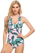 Ekouaer Womens Sexy Ruffle Criss Cross Back One Piece Swimsuit Monokini Swimwear (, XL)