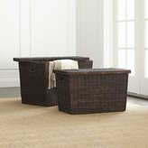Crate & Barrel Abaca Wicker Trunk Baskets with Lids