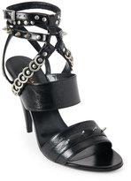 Saint Laurent Black Studded Open Toe High Heel Sandals