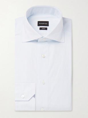Ermenegildo Zegna Light-Blue Cutaway-Collar Checked Cotton-Poplin Shirt
