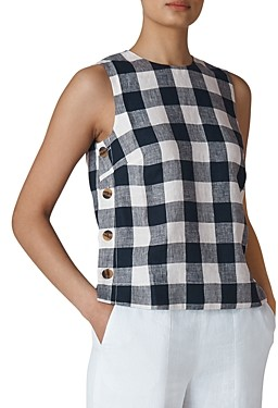 Whistles Gingham Linen Top