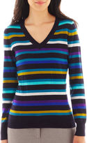 WORTHINGTON Worthington Long-Sleeve Ribbed V-neck Sweater - Petite