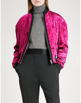 Haider Ackermann Ladies Fuchsia Exposed Zip Crushed-Velvet Bomber Jacket