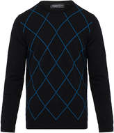 Pringle Black and Blue Argyle Raker Lambswool Sweater