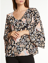 Somerset by Alice Temperley Fireflower Ruffle Top, Black
