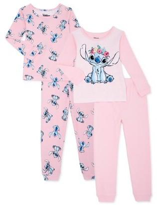Lilo & Stitch Toddler Girl Long Sleeve Snug Fit Cotton Pajamas, 4pc Set