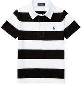 Ralph Lauren Striped Jersey Polo Shirt, Polo Black/White, Size 5-7