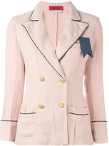 The Gigi - contrast trim double breasted blazer - women - Linen/Flax - 40