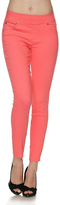 Jane Neon Coral Twill Jeggings