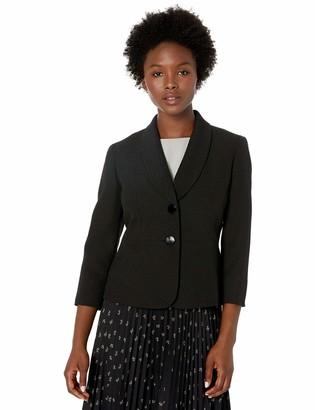 Kasper Women's Petite 2 Button Shawl Collar Texture Pique Jacket