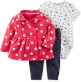 Carter's 3-Pc. Dot-Print Jacket, Floral-Print Bodysuit & Denim Leggings Set, Baby Girls (0-24 months)