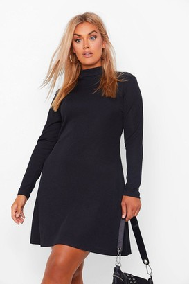 boohoo Plus Rib High Neck Swing Dress