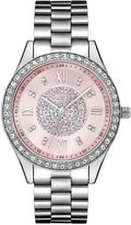 JBW Womens Silver Tone And Pink Dial Diamond Accent Bracelet Watch