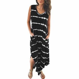 Lancy Luna Women's Sleeveless Button Down Tank Blouse Tunic Dress Ruffle Sleeve Pleated Loose Swing Solid Short Mini Dress Black