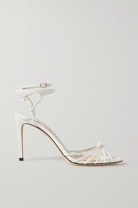 Jimmy Choo Lovella 85 Knotted Lizard-effect Leather Sandals - White
