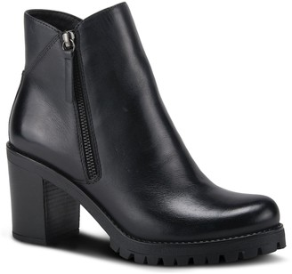 Spring Step Leather Chunky Heel Booties - Dealey