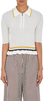 3.1 Phillip Lim Women's Striped Cotton Flutter-Hem Polo Shirt-WHITE, BLACK, YELLOW