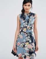 Oasis Floral Print High Neck Belted Skater Dress