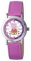 Peppa Pig Girl's Quartz Watch with White Dial Analogue Display and Pink PU Strap PP007