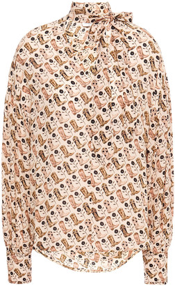 Sandro Pussy-bow Printed Crepe De Chine Blouse