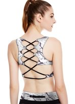 icyZone Women's Workout Yoga Clothes Activewear Printed Racerback Sports Bras (S, )