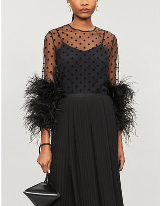 Huishan Zhang Alma polka-dot feather-trim tulle blouse