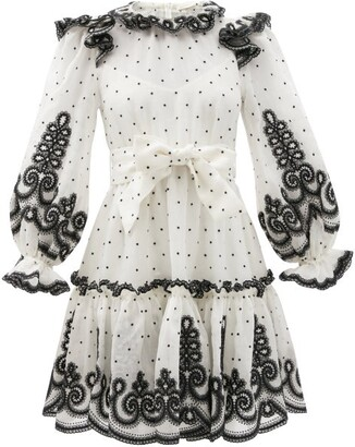Zimmermann Embroidered Ruffled Linen-blend Organdy Mini Dress - White Black