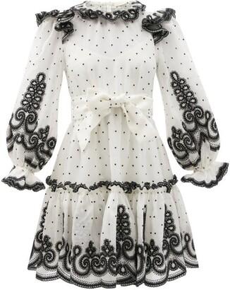 Zimmermann Lovestruck Ruffled Linen-blend Organdy Mini Dress - White Black