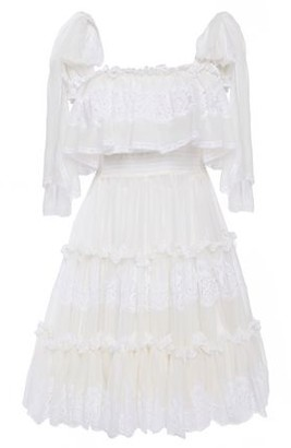 Dolce & Gabbana Tiered Paneled Lace And Silk-blend Voile Mini Dress