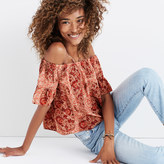 Madewell Silk Off-the-Shoulder Top in Watercolor Paisley
