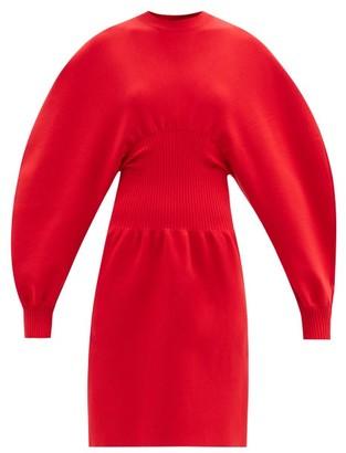 Bottega Veneta Round-shoulder Wool-blend Knitted Dress - Red