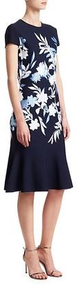 St. John Shadow Floral Jacquard Cap Sleeve Dress