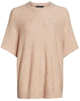 Fabiana Filippi Paillette Woven Wool-Blend Short-Sleeve Knit Sweater