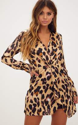 PrettyLittleThing Leopard Print Satin Long Sleeve Wrap Dress