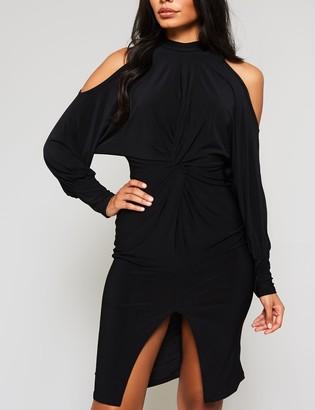 Public Desire Uk Cold Shoulder Slinky Midi Dress
