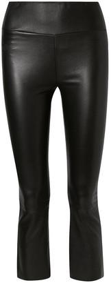 Sprwmn Cropped Zebra-print Leather Flared Pants