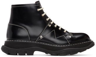 Alexander McQueen Black Contrast Stitch Tread Lace-Up Boots