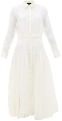Rochas Floral-embroidered Silk-organza Maxi Dress - Womens - White