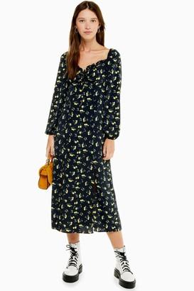 Topshop Womens Black And Yellow Floral Print Prairie Square Neck Midi Dress - Black