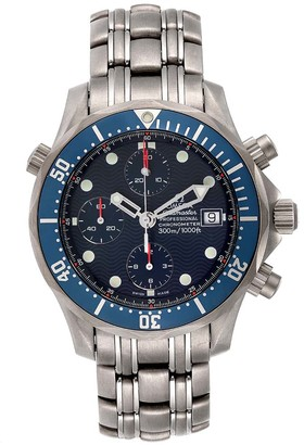 Omega Blue Titanium Seamaster Chrono Diver 2298.80.00 Men's Wristwatch 41.5 MM