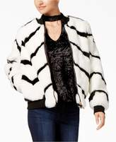 Say What Juniors' Striped Faux-Fur Bomber Jacket