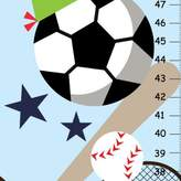 Kid o Sport Growth Chart for Boy Bedroom, Nursery Wall Decor, Personalized Canvas Height Chart, Custom Baby Shower Gift