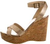 Jimmy Choo Glitter Platform Wedge Sandals