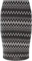 Dorothy Perkins Womens Petite Silver Zig Zag Black Tube Skirt